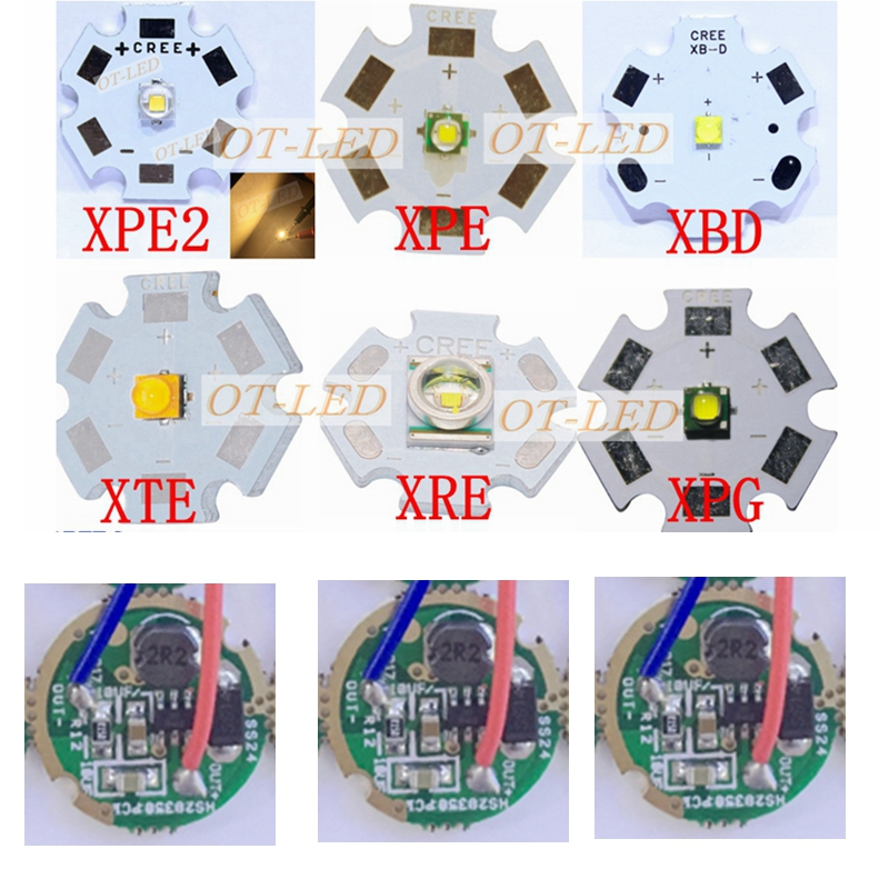 1set Cree XTE XT-E XPE XP-E XP-G2 XPG2 XBD XB-D XRE XR-E XPE2 XP-E2 LED Bulb Chip Light + 3-3.7V 3W 16mm / 20mm 1 Mode Driver