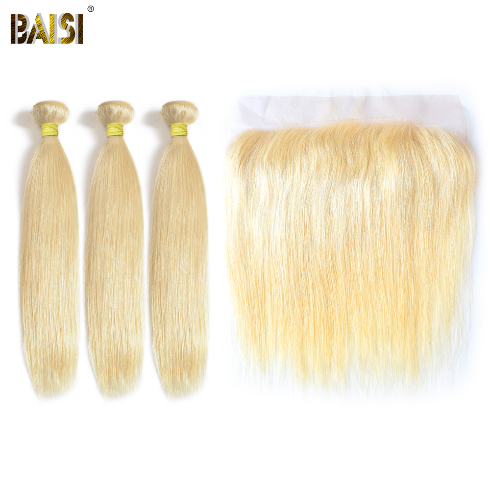 BAISI Hair Peruvian Blonde Straight Hair ,100% Virgin Human Hair extension, 3 Bundles and 13x4 Frontal, Free Shipping