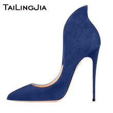 Slip On Fashion Blue Denim High Heel Women Shoes Woman Pumps Pointed Toe Faux Suede Black Ladies High Quality Brand Pump 2019