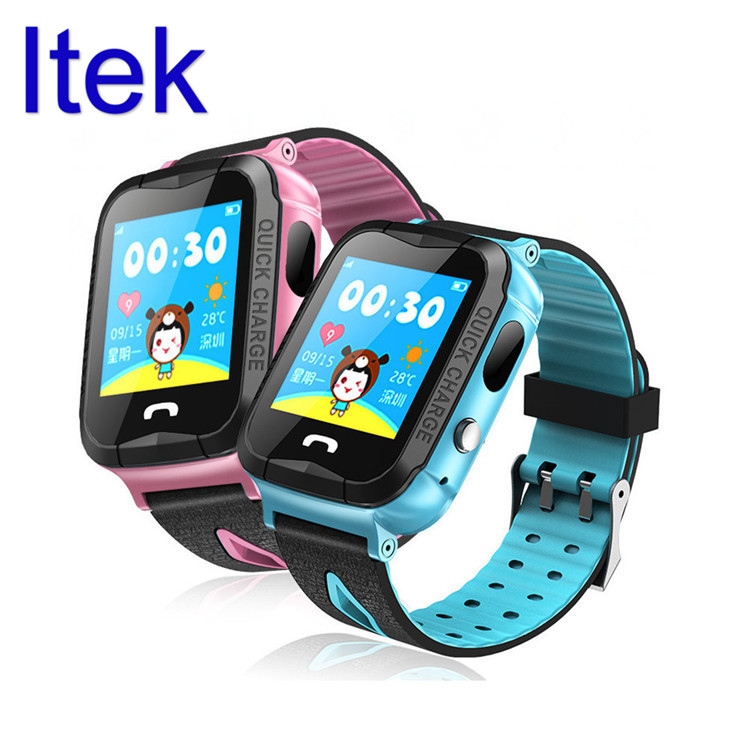 Itek Kids Children IP67 Waterproof GPS Location Smart Watch Touch Screen Monitor Tracker with Camera Flashlight for Android iOS