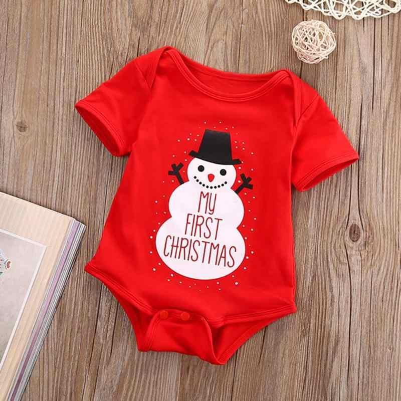 f736e45b1 2019 Christmas Newborn Baby Girls Boys Clothes Short Sleeve Bodysuit Loose  Letters Print Jumpsuit Summer Clothing