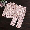 Plus size Autumn long sleeve 100% cotton women pyjamas cute cartoon pajamas sets for women white bear casual homewear