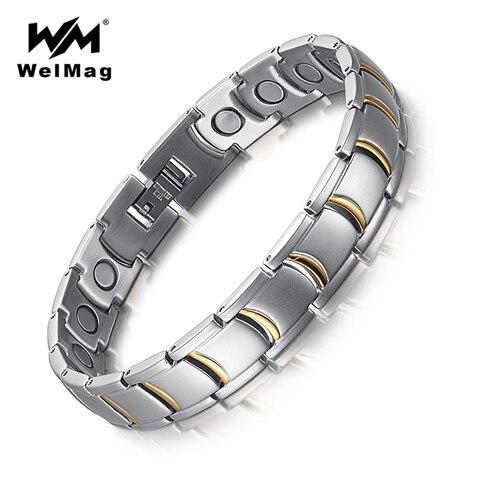 Лечебные магнитные мужские браслеты welmag из нержавеющей стали