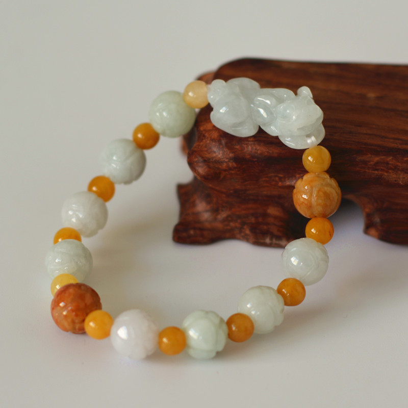 certificate Natural A level Jadeite Jade Bracelet Lotus PIXIU Bracelet Single Lap Hand String Bangle Gift For Women Jade Jewelry