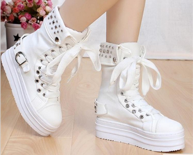 1dbfd59138e Autumn women sneakers Korean version platform shoes rivet high top sneakers  women shoes canvas wedge sneakers women boots