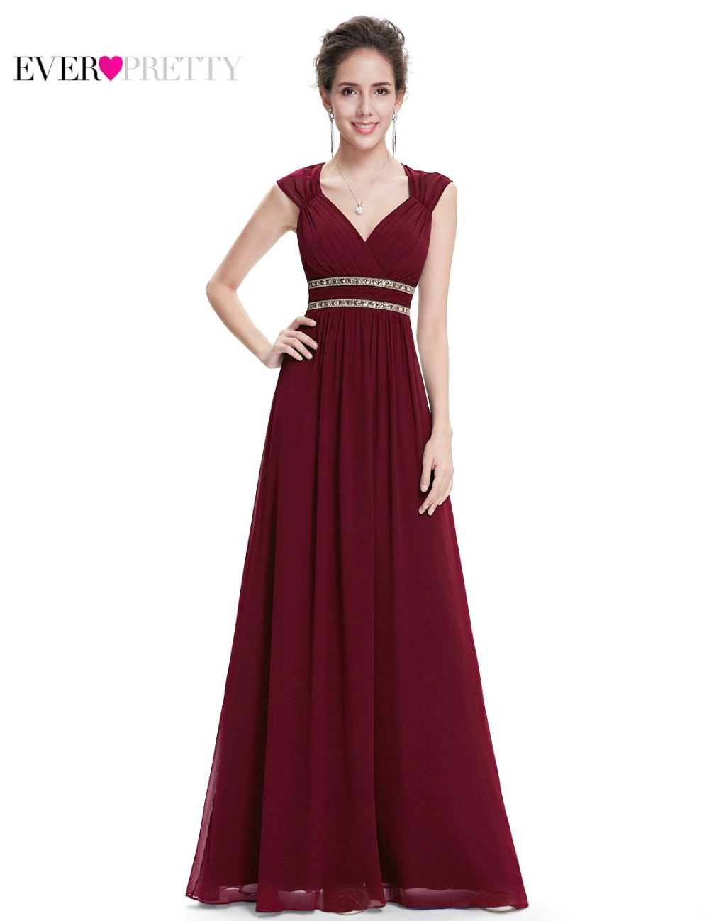 Ever Pretty 2020 Clearance Style Women Elegant Bridesmaid Dresses Long V-Neck Formal Dress Wedding Party Dress XX79680PEA