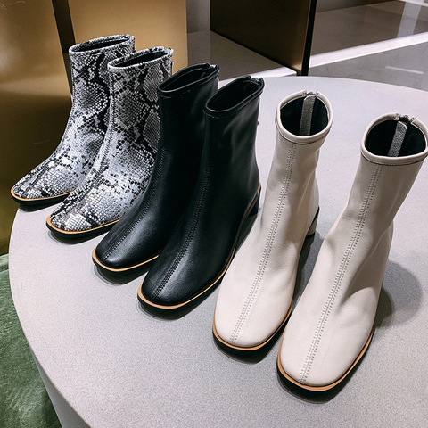 ISNOM Genuine Leather Ankle Boots Women Square Toe Booties Woman Fashion Shoes Female Thick Heels Zip Shoes Ladies Winter 2019 Islamabad