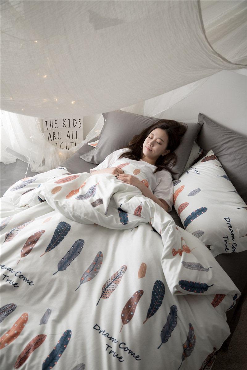 2018 fashion reactive printing queen size bedding set long staple cotton duvet cover princess personality bed sheets drap de lit