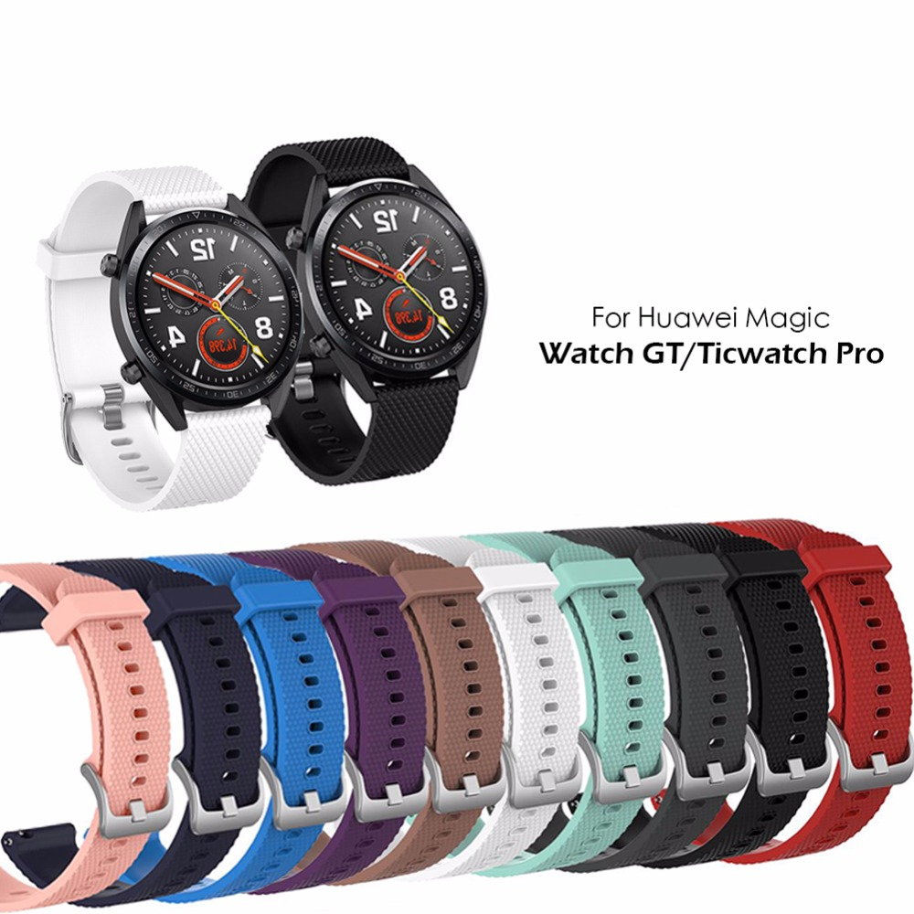 Silicone strap replacement watchband smartwatch strap for Huawei Magic / Watch GT / Ticwatch Pro-in Smart Accessories from Consumer Electronics
