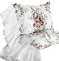 WINLIFE Butterfly Pillowshams Shabby Vintage Floral Pillow Case Pillow Cover 2PC