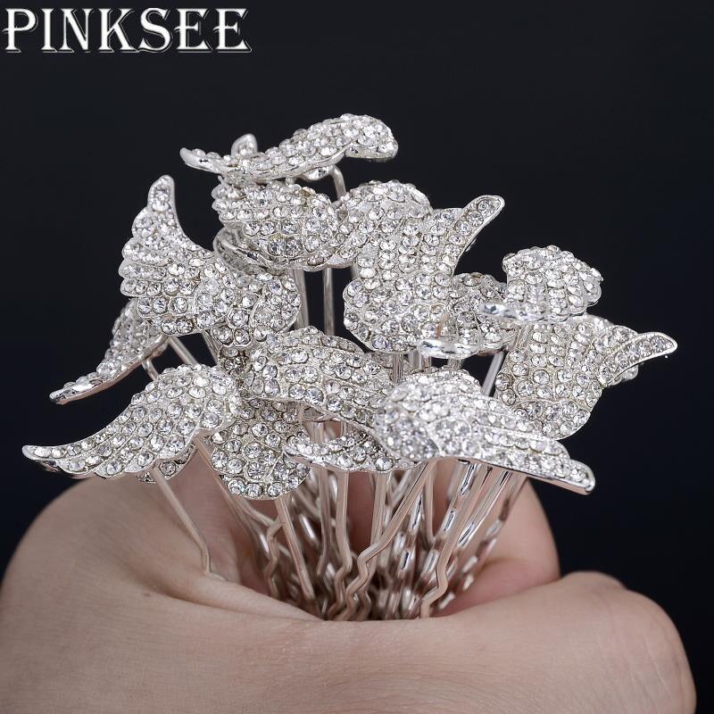 PINKSEE 12Pcs Lots Gold Silver Angel Wings Hair Pin Bridal Bridesmaid Wedding  Crystal Rhinestone Hair Clips Jewelry Accesssories 832a50a2c996