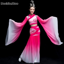 1bab77ec6 2019 new chinese ink water sleeves costumes classical dance clothing long  sleeves fan poetry fairy costume