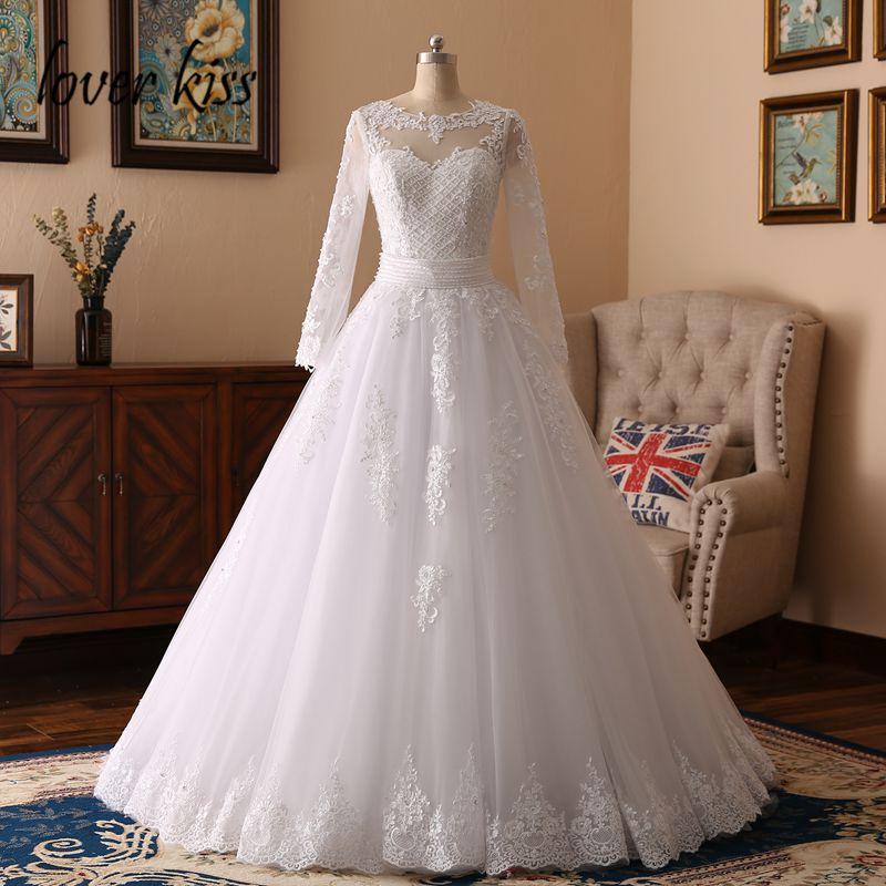 Lover Kiss Vestidos de Noiva 2019 Beaded Pearls Lace Long Sleeve Wedding Dress 2 in 1