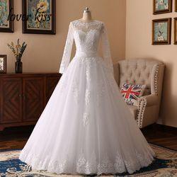 Amante beijo vestidos de noiva 2019 pérolas frisadas rendas manga longa vestido de casamento 2 em 1 vestidos de noiva duas peças de boda