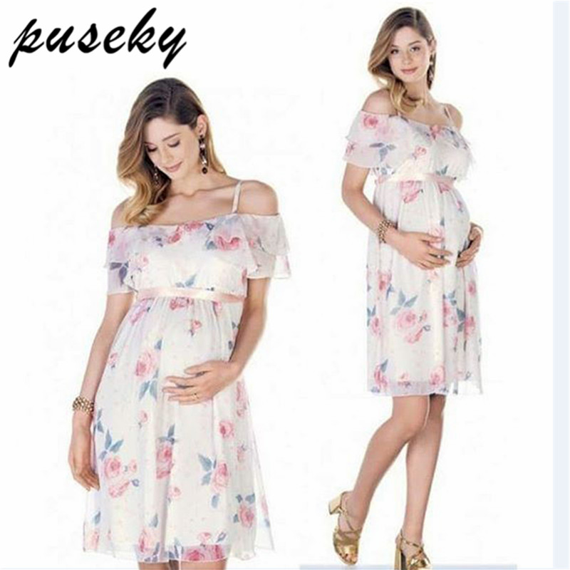 Puseky Pregnant Dress Ruffle Off Shoulder Floral Maternity Dresses For Photo Shoot Chiffon Maternity Dress Party Clothes photo shoot