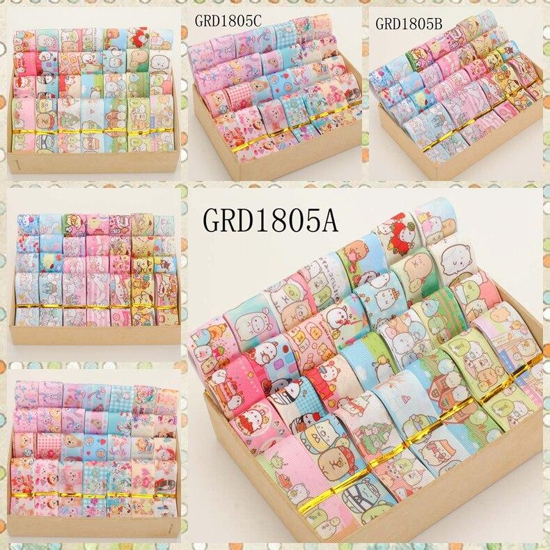 NEW 22/25mm Random Set Mixed Hot Sales Japanese Cartoon Pattern Printed Grosgrain Ribbons ,1Y/style