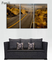 3 Pieces Set Highway Sunset HD Wall Art Print On Canvas For Home Decoration Wall Art