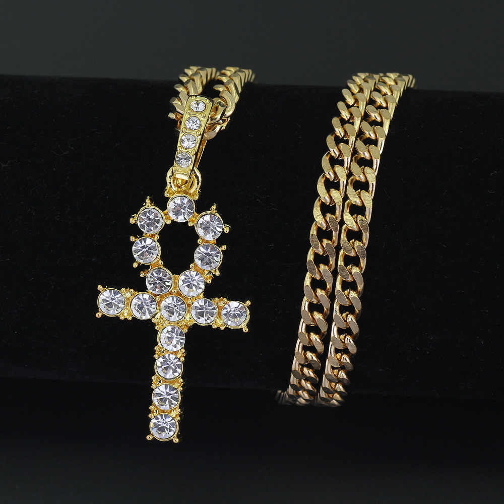Mężczyźni kobiety stop Hip Hop Iced Out Ankh krzyż wisiorek łańcuch tenisowy CZ egipski klucz wisiorek drzewo życia i naszyjnik biżuteria prezent