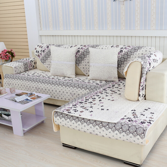Housse de canape decorativa quilted cushion printed summer cover for sofas cotton fabric corner for Housse de sofa