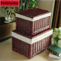 Handwoven Household Wicker Storage Basket with Cloth Liners Large Laundry Cloth Organizer Box Pastoral Wicker Baskets with cover