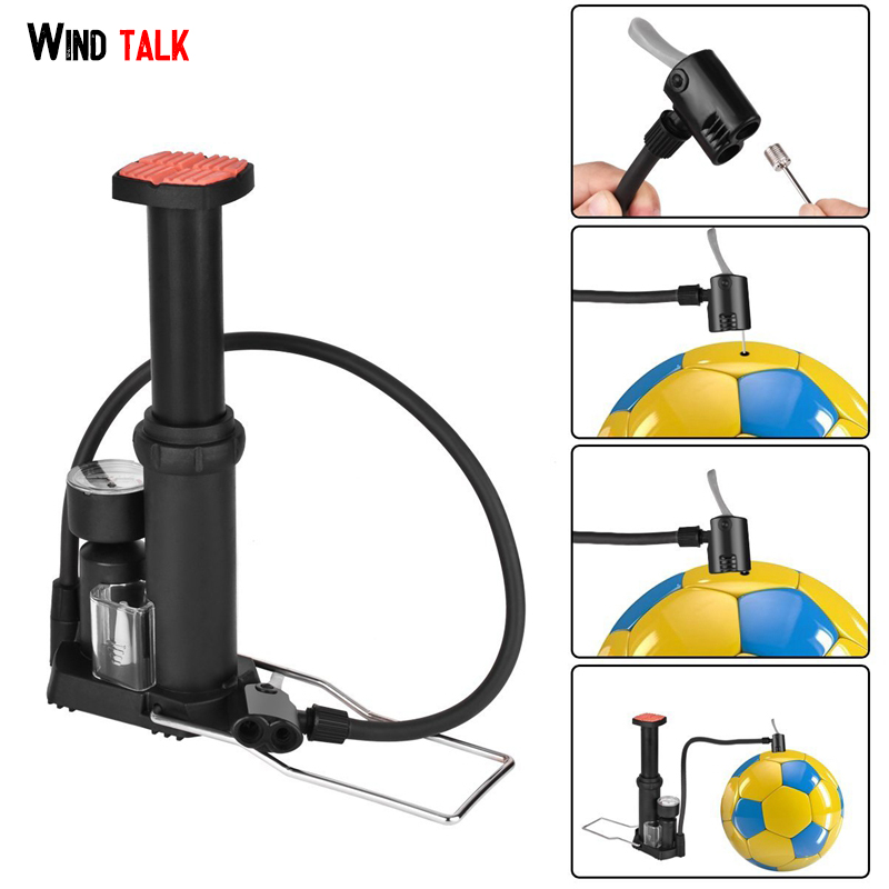 Wind Talk Mini High Pressure Air Pump Bike Tire Ball Floor Foot Mountain Bike Cycling Bicycle Pump With Pressure Gauges