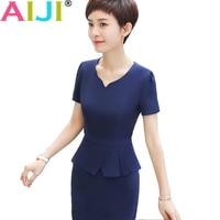 Spring Summer OL One Piece Dress Short Sleeve Fashion V Neck Slim Hip Medium Dress Office