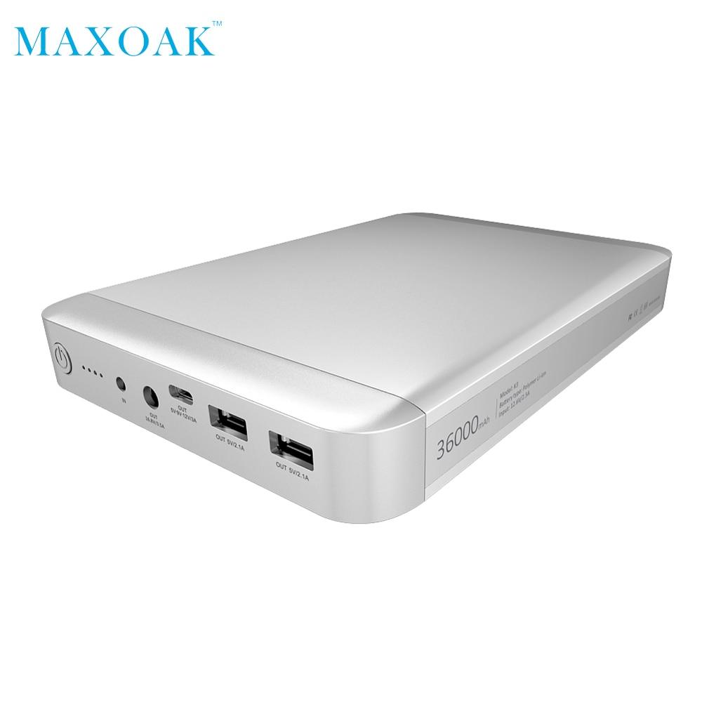 MAXOAK K3 Original power bank laptop Type C 5V 9V 12V 3A Charger universal external battery