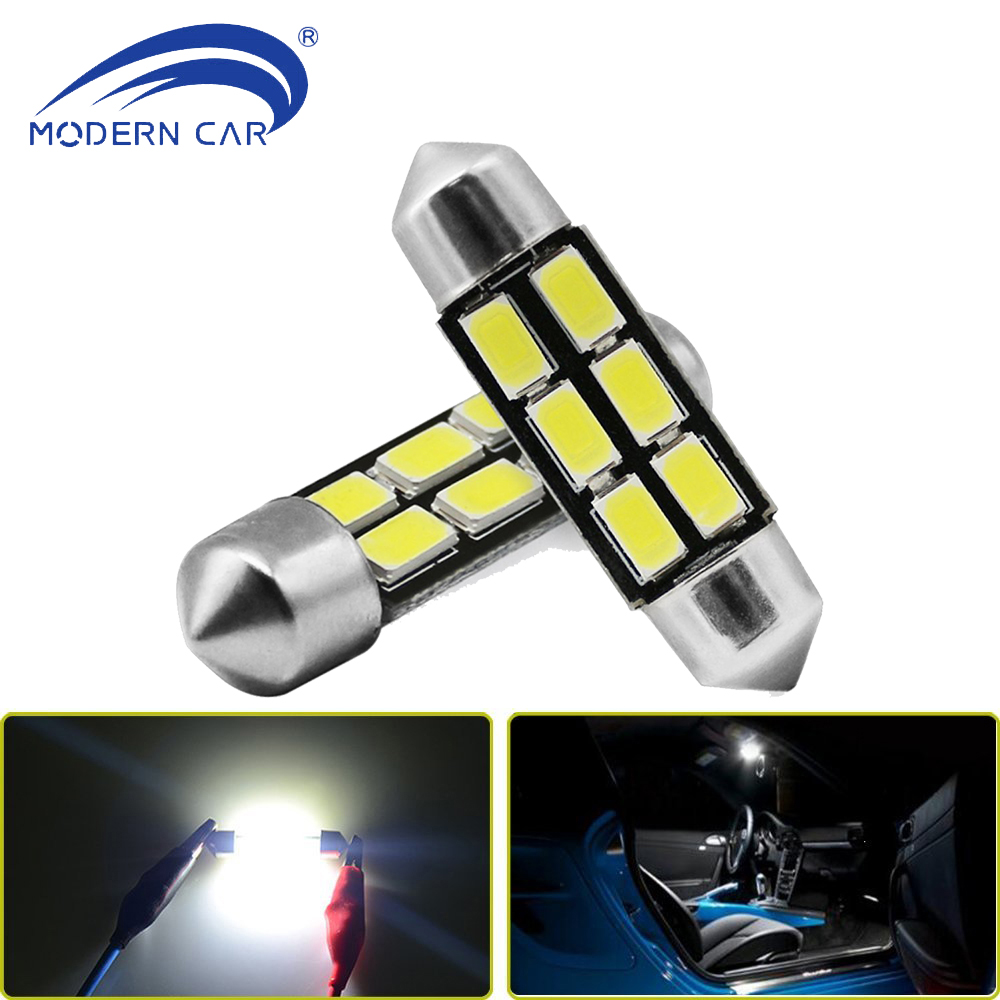 MODERN CAR 2pcs Festoon Light Bulbs 31mm 36mm 39mm 5630 5730 6SMD Car Door Courtesy Light Trunk Light Dome Light Source DC12V