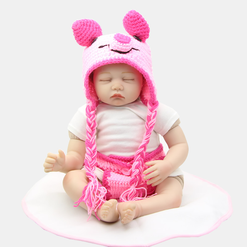 цены Realistic 22 Inch Silicone Soft Reborn Babies Fashion Girl Dolls Lifelike Sleeping Newborn Doll New Year Chirstmas Gift