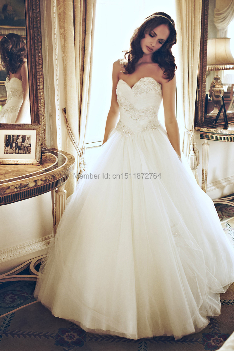 Custom Made 2014 princess style strapless sweetheart neckline ...