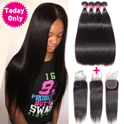 TODAY ONLY Brazilian Straight Hair 3 Bundles With Closure Brazilian Hair Weave Bundles Remy Human Hair Bundles With Closure