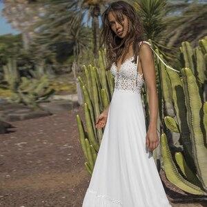 Image 3 - Verngo vestido de noiva com decote em v, vestido de casamento estilo boho clássico com alças espaguete, comprimento do chão, para praia, para casamento