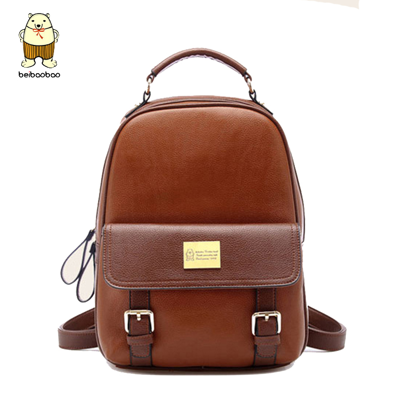 Beibaobao brand vintage women backpack nubuck leather+PU school backpacks for teenage girls casual large capacity shoulder bags brand women backpack pu leather school backpacks for teenage girls shoulder bag large capacity travel bags
