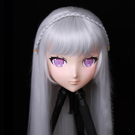 (KIG183)Female/Girl 3/4 Head Kigurumi BJD Crossdress Cosplay Japanese Anime Role Emilia Lolita Mask Crossdresser Doll