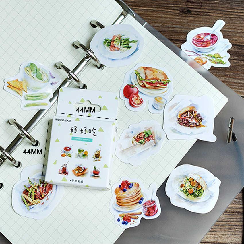 46 unids/pack deliciosa caja de comida pegatina Mini pegatina de papel Deco DIY diario Scrapbooking pegatina de fiesta autoadhesiva
