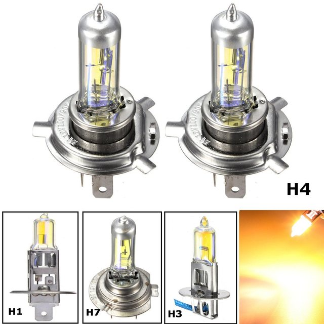 US $1 94 21% OFF|H1 H3 H4 H7 55W Yellow LED Car Light Halogen Lamp Bulb Car  Styling HeadLight Lamp Xenon Fog Lights Dipped Beam-in Car Light Assembly
