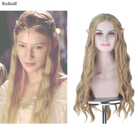 The Hobbit Galadriel Cosplay Wig Blonde Synthetic Hair Curly Hair Elf Ears Set Halloween Cosplay Wig Concert Event for Adult