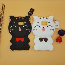 New 3D Cartoon Plutus Smiling Face Cat Case With Pendant Soft Silicone Cover for Samsung Galaxy S3 S4 S5 S6 S7 S7edge Edge