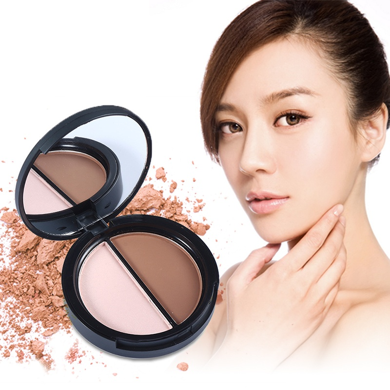 2 Colors Contour Palette Highlighter & Bronzer Press Powder Shimmer Grooming Powder Professional Facil Concealer Makeup