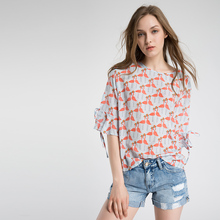 Women's floral printed silk blouse top with bell sleeve 2017 summer girls shirt
