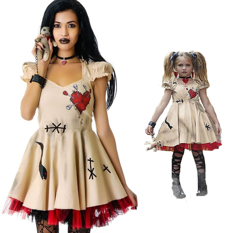 Halloween Costume Girl's Women Cosplay Dress Voodoo Doll Costumes for Adults & Child Christmas Medieval Fancy Dress Ball S-3XL