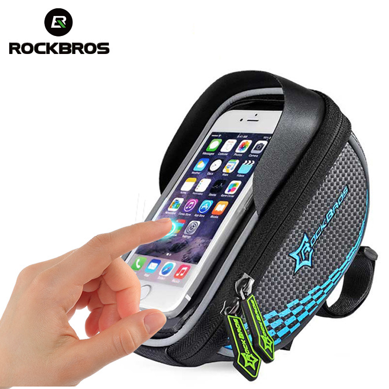 ROCKBROS Bike Frame Front Tube Bag Cycling Riding Bag Pannier Smartphone & GPS Touch Screen Case Bicycle Accessories 4 Colors