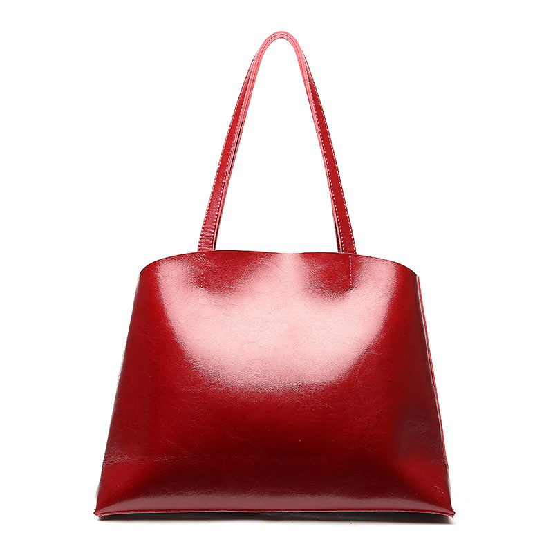 Women's new style leather cross-section large-capacity shoulder bag Europe and American style high-end fashion tote fashion style