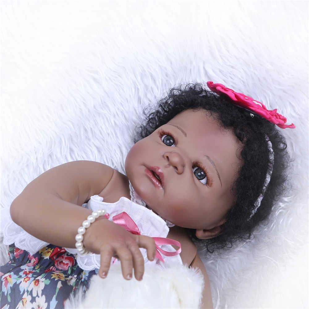 """23 """"Полное Силиконовое боди Reborn Baby Игрушки, Куклы как живые 57 см черная кожа настоящая для новорожденных, для девочек bathe bonecas детские подарки на день рождения"""