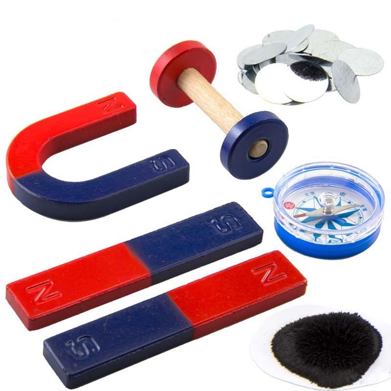 Il trasporto Libero 6 pz/set Strumenti Kit Magnete per L'educazione Science Experiment Icluding Bar/Anello/Cavallo/Compass Magneti