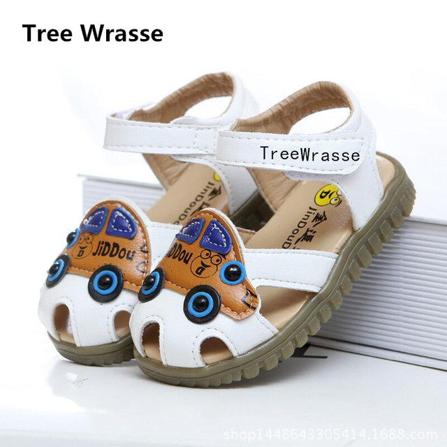 93f1d5fb716 Boys Leather Sandals Baby Girls Beach Sandals Cow Muscle Anti-slip Flat Shoes  Summer Car Cartoon Children Shoes Tree Wrasse