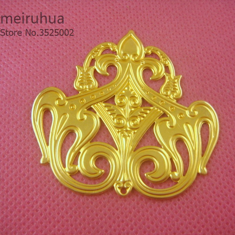 10 pieces / lot 48*45mm copper filigree flower Jewelry DIY Components Findings Headgear accessories