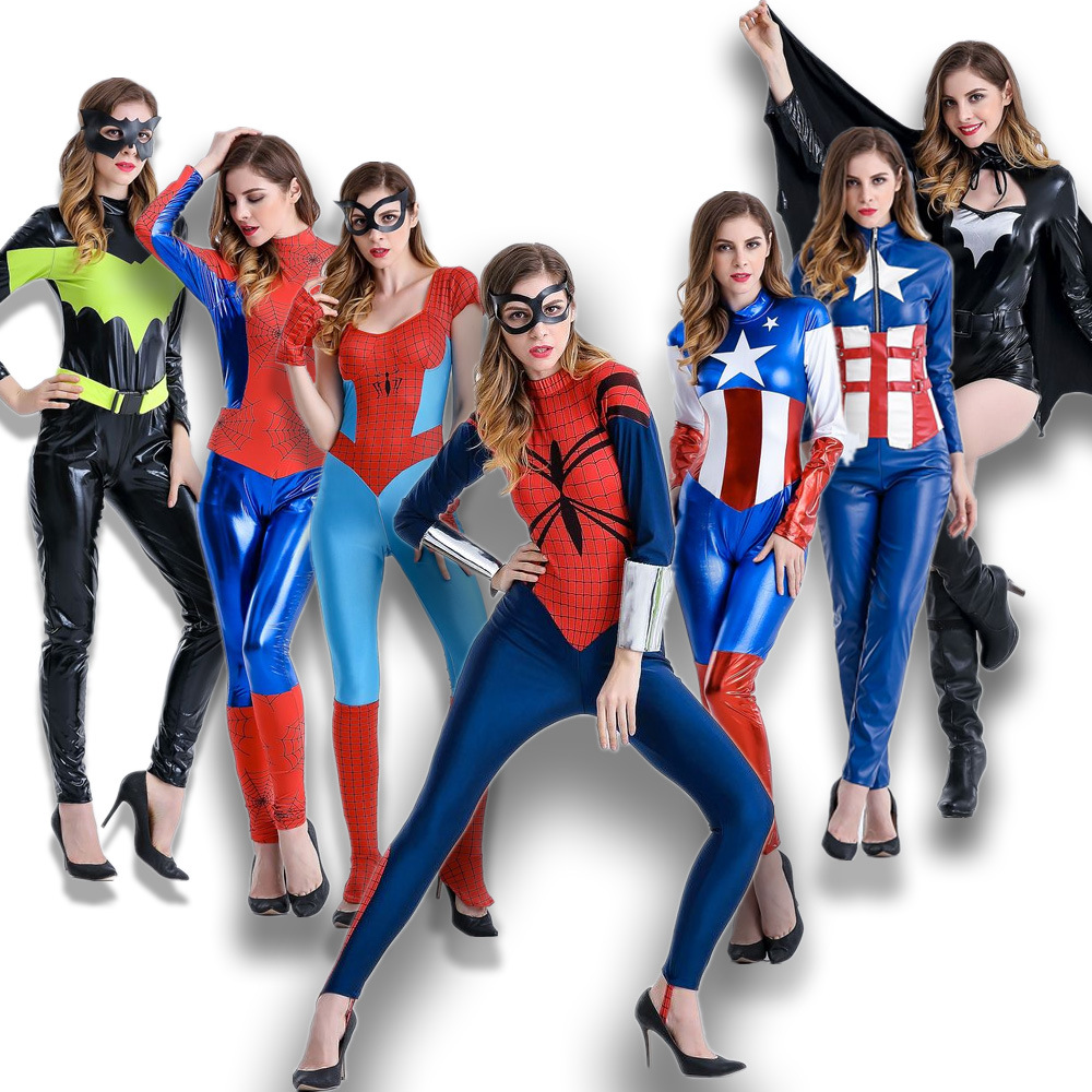 Adult Anime cosplay wonder woman clothes captain america costume Super-man Leather Stage Jumpsuits carnival costumes for girl