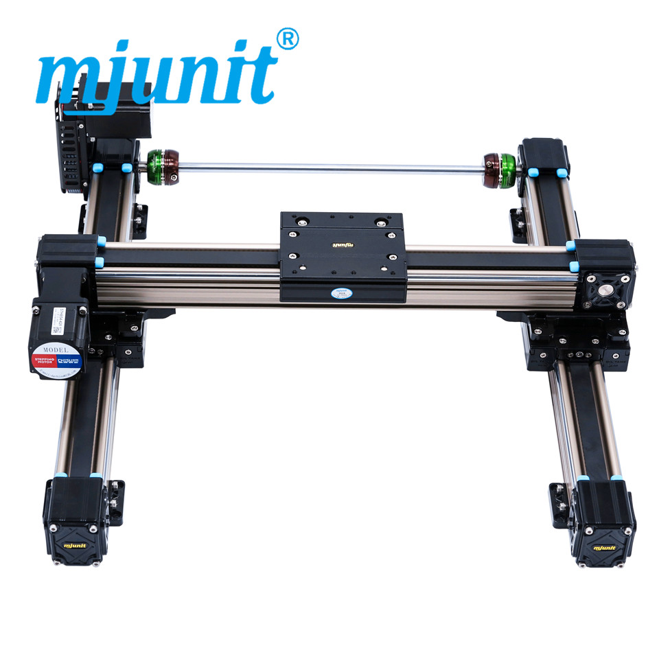 mjunit MJ50 xy linear slide rail linear guide rail with flange block for cnc machine with 1000x500mm stroke flat mjunit xy postioning axis linear motion shaft support series slide cnc aluminum rail high quality
