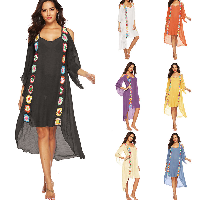 Long Sleeve Summer Beachwear 2019 Kaftan Tunic Beach Dress Women Bikini Cover-ups Swimsuit Cover Up Boho Plus Size Party Dresses